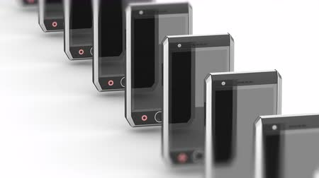 organizatör : Smartphones. Looping footage has 4K resolution. Prores 4444. 3D Illustration. Stok Video