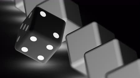 шансы : The dice. Looping footage has 4K resolution. Prores 4444. 3D Illustration. Стоковые видеозаписи