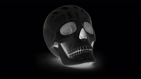 дух : Skull. Looping footage has 4K resolution. Prores 4444. 3D Illustration. Стоковые видеозаписи
