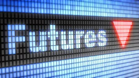 derivatives : Index of Futures on the screen. Down. Looping footage has 4K resolution. Prores 4444. Stock Footage