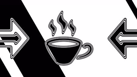 wakes : The coffee icon. Looping footage has 4K resolution. Illustration. Stock Footage