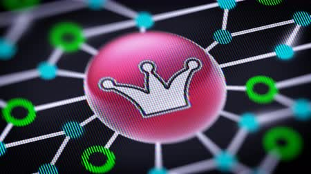 monarchy : Crown icon. Circuit board in the screen. Looping footage with codec Prores 4444.