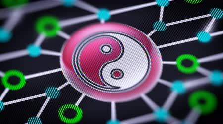 КПК : Ying-Yang icon. Circuit board in the screen. Looping footage with codec Prores 4444.