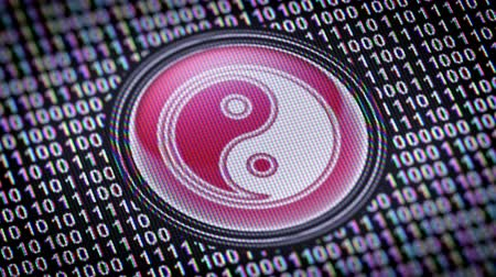 КПК : Ying-Yang icon. Binary code ( array of bits ) in the screen. Looping footage with Prores4444.