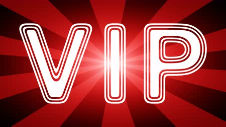 frase : VIP icon in red abstract background with rays. Looping footage with Prores 4444 and 4K resolution.