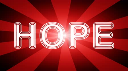 hopeful : Hope icon in red abstract background with rays. Looping footage with Prores 4444 and 4K resolution. Stock Footage