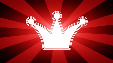 imparator : Crown icon in red abstract background with rays. Looping footage with Prores 4444 and 4K resolution.