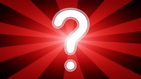 know : Question icon in red abstract background with rays. Looping footage with Prores 4444 and 4K resolution. Stock Footage