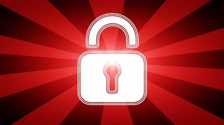 güvenlik duvarı : Lock icon in red abstract background with rays. Looping footage with Prores 4444 and 4K resolution.