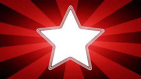портфель : Star icon in red abstract background with rays. Looping footage with Prores 4444 and 4K resolution.