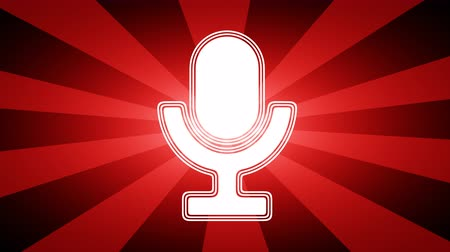 КПК : Microphone icon in red abstract background with rays. Looping footage with Prores 4444 and 4K resolution.