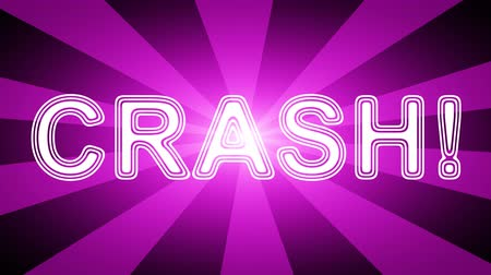 comics pop : Crash! icon in red abstract background with rays. Looping footage with Prores 4444 and 4K resolution.