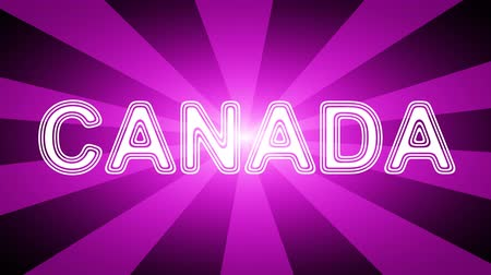 naam : Canada icon in red abstract background with rays. Looping footage with Prores 4444 and 4K resolution. Stockvideo