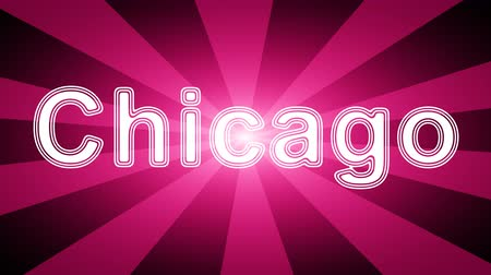 country name : Chicago icon in red abstract background with rays. Looping footage with Prores 4444 and 4K resolution. Stock Footage