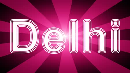 naam : Delhi icon in red abstract background with rays. Looping footage with Prores 4444 and 4K resolution.