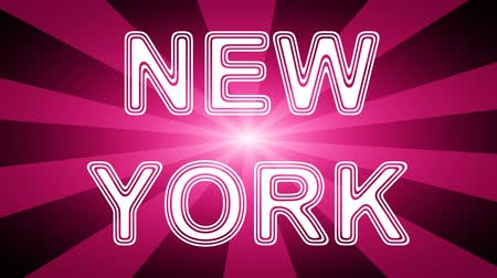york : New York icon in red abstract background with rays. Looping footage with Prores 4444 and 4K resolution. Stock Footage