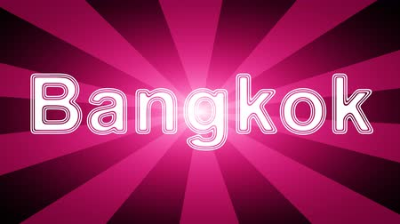 country name : Bangkok icon in red abstract background with rays. Looping footage with Prores 4444 and 4K resolution. Stock Footage