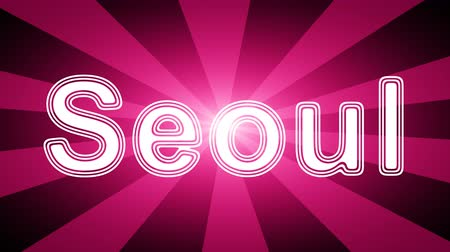 naam : Seoul icon in red abstract background with rays. Looping footage with Prores 4444 and 4K resolution.