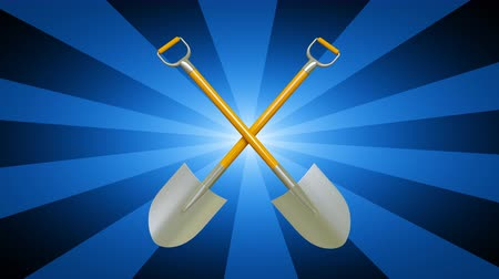 садовник : Shovels. Looping footage has 4K resolution. 3D Illustration.