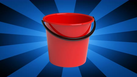 kapasite : The bucket. Looping footage has 4K resolution. 3D Illustration. Stok Video