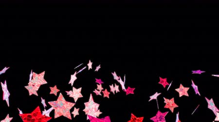 bizar : Flying stars in black background. Looping footage. Alpha channel included. 3D Illustration.
