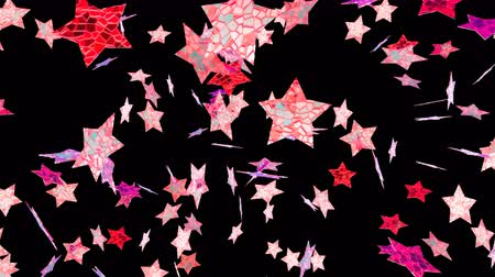 мишура : Flying stars in black background. Looping footage. Alpha channel included. 3D Illustration.