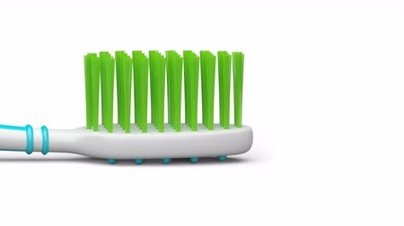 туалетные принадлежности : No trademarks. My own design of toothbrush. Looping footage with alpha channel. 3D Illustration. Стоковые видеозаписи