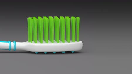 escova de dentes : No trademarks. My own design of toothbrush. Looping footage with alpha channel. 3D Illustration. Stock Footage