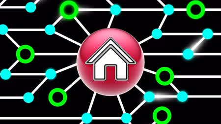 url : House icon on circuit board. Looping footage. Illustration. Stock Footage