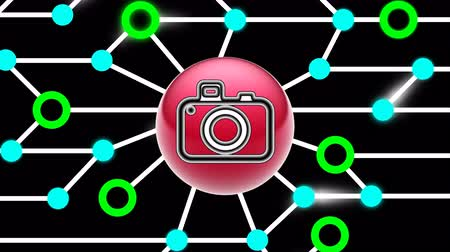 pic : Camera icon on circuit board. Looping footage. Illustration. Stock Footage