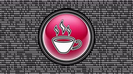 кафе : Coffee icon. Binary code ( array of bits ) in the screen. Looping footage. Illustration.