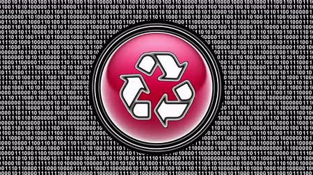 Recycle icon. Binary code ( array of bits ) in the screen. Looping footage. Illustration.