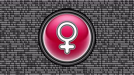 Female icon. Binary code ( array of bits ) in the screen. Looping footage. Illustration. Stok Video