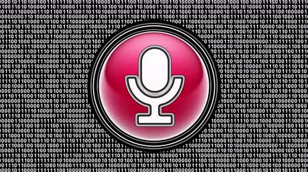Microphone icon. Binary code ( array of bits ) in the screen. Looping footage. Illustration.