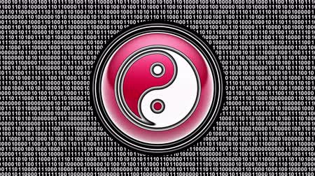 yin and yang : Ying-Yang icon. Binary code ( array of bits ) in the screen. Looping footage. Illustration. Stock Footage