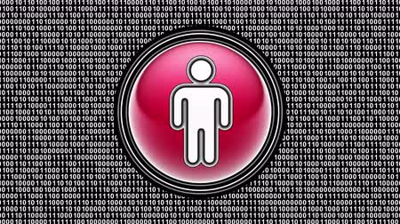 surfing the net : Male icon. Binary code ( array of bits ) in the screen. Looping footage. Illustration.