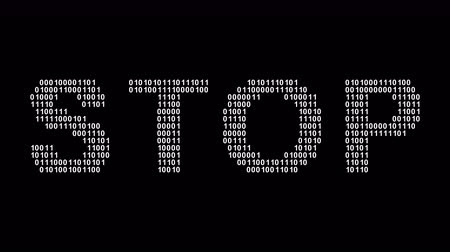 Stop. Binary code in the screen. Looping footage. Illustration.