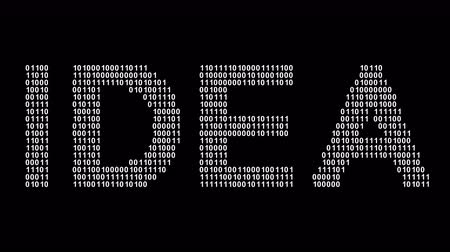 wynalazek : Idea. Binary code in the screen. Looping footage. Illustration. Wideo