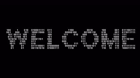 Welcome. Binary code in the screen. Looping footage. Illustration. Stok Video