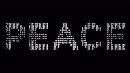 hippie : Peace. Binary code in the screen. Looping footage. Illustration. Stock Footage