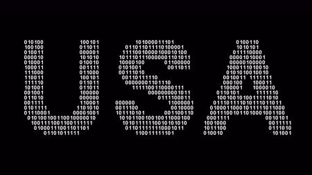 USA. Binary code in the screen. Looping footage. Illustration.