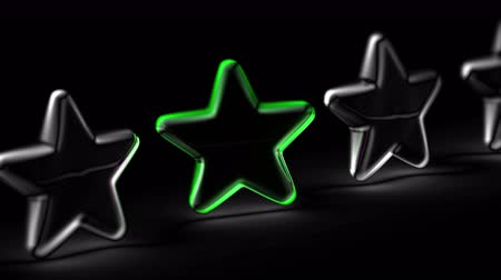 avaliação : Star icon in black background. Looping footage. 3D Illustration.