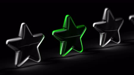 értékelés : Star icon in black background. Looping footage. 3D Illustration.