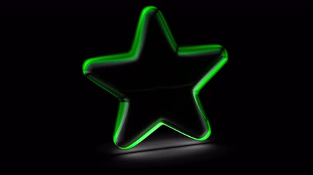hodnost : Star icon in black background. Looping footage. 3D Illustration.