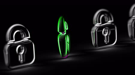 Lock icon in black background. Looping footage. 3D Illustration. Stok Video