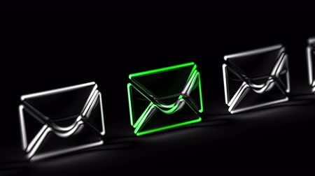 E-mail icon in black background. Looping footage. 3D Illustration.