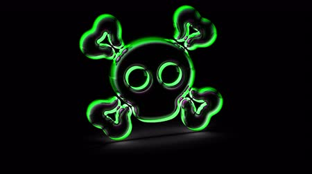 ter cuidado : Virus icon in black background. Looping footage. 3D Illustration. Stock Footage