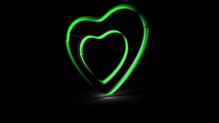 Heart icon in black background. Looping footage. 3D Illustration.