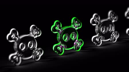 ter cuidado : Virus icon in black background. Looping footage. 3D Illustration. Vídeos