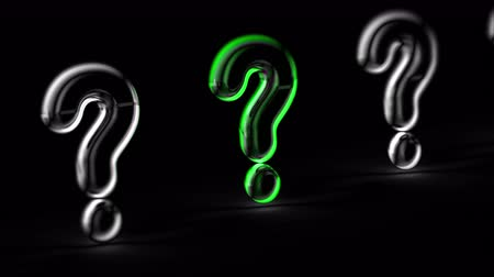 question : Question mark in black background. Looping footage. 3D Illustration.